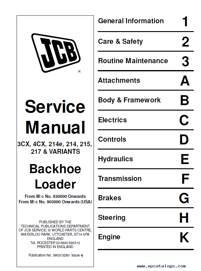 JCB 3CX 4CX 214e 214 215 217 Backhoe Loader Service Repair Manual CD 214S 215S