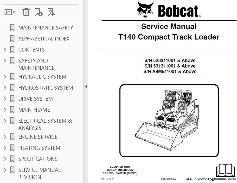 Bobcat T140 Skid Steer Workshop Manual