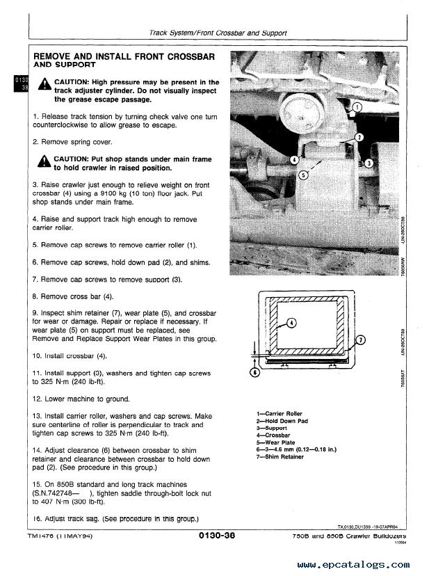 John Deere 750B, 850B Crawler Bulldozer Repair TM1476 Technical Manual PDF