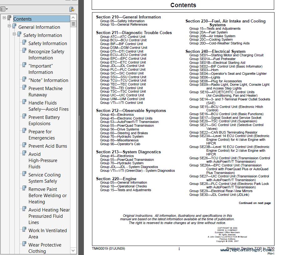 John Deere Premium Tractors 7130 - 7530 Diagnostics TM400019 Technical  Manual PDF