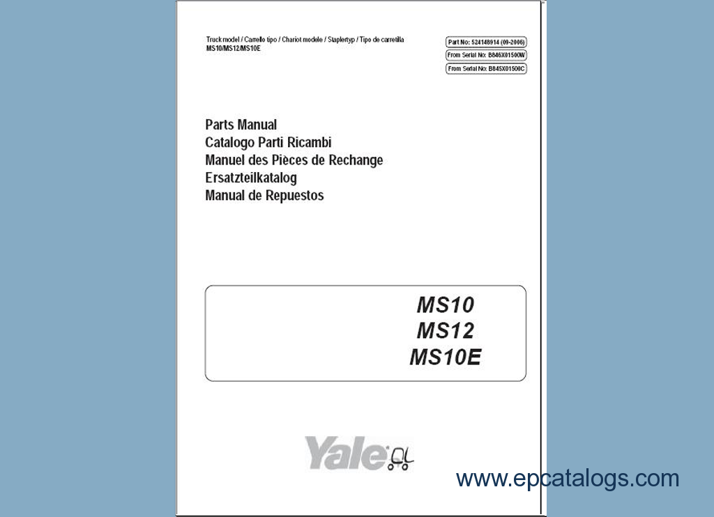 Yale Forklifts Parts Manuals PDF