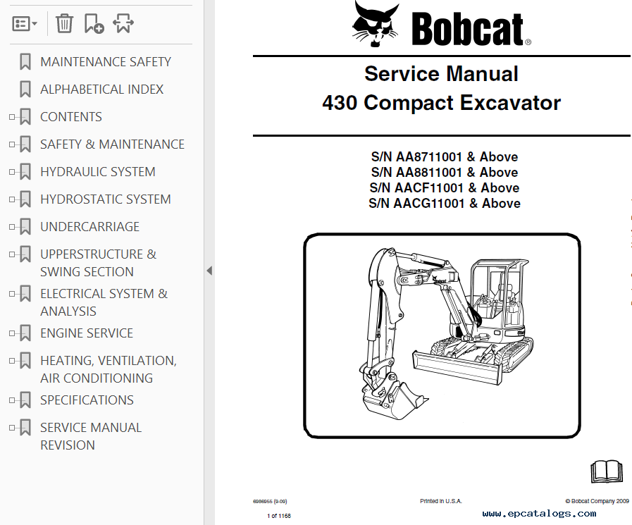 Bobcat 430 Compact Excavator Service Manual PDF on bobcat 331 wiring diagram, bobcat t300 wiring diagram, bobcat 430 parts manual,