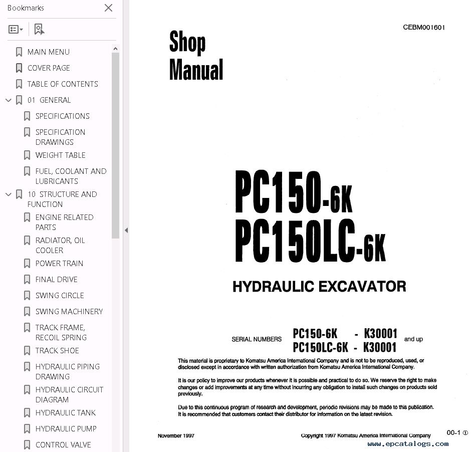 Komatsu Pc 150 Wiring Diagram Just Another Blog Cat Forklift Diagrams Pc150 5 6k Pc150lc Shop Manuals Pdf Rh Epcatalogs Com Schematics