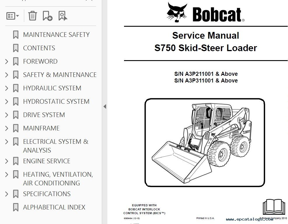 bobcat s750 skid steer loader service manual pdf. Black Bedroom Furniture Sets. Home Design Ideas