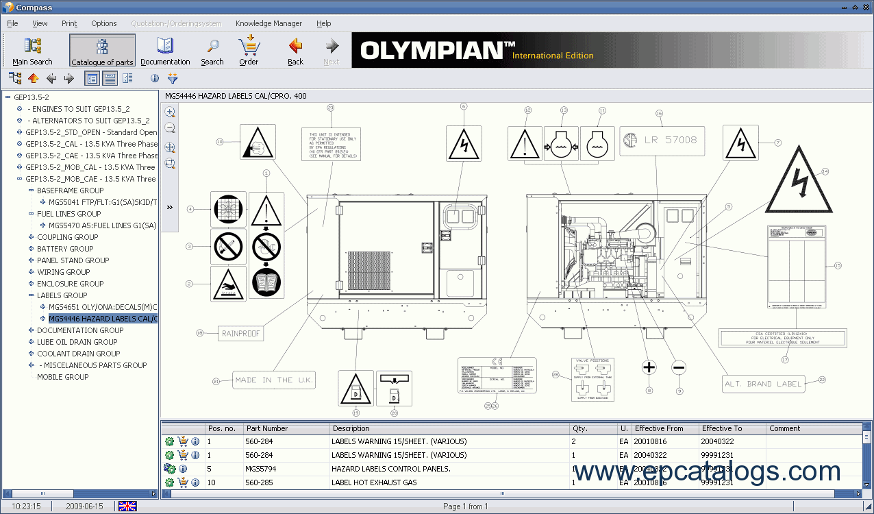 Olympian spare parts catalog – Ih 284 Wiring Diagram