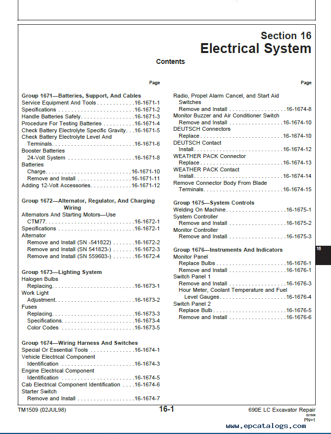 John Deere 690E LC Excavator Repair Technical Manual TM1509 PDF