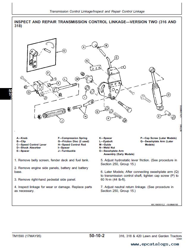 john deere 316 318 420 lawn garden tractors tm1590 pdf rh epcatalogs com john deere 318 lawn tractor parts manual John Deere 318 Manual PDF