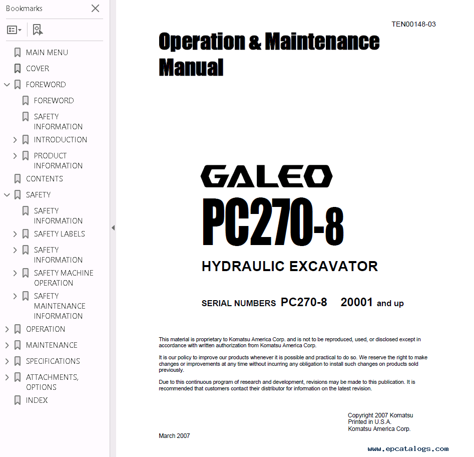 repair manual Komatsu Hydraulic Excavator Galeo PC270-8 Set Manuals of PDF  - 1
