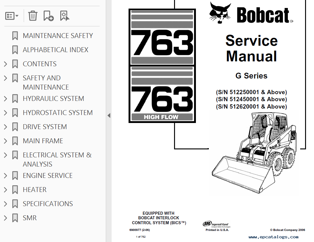 Bobcat High Flow Loaders G Series Service Manual Pdf