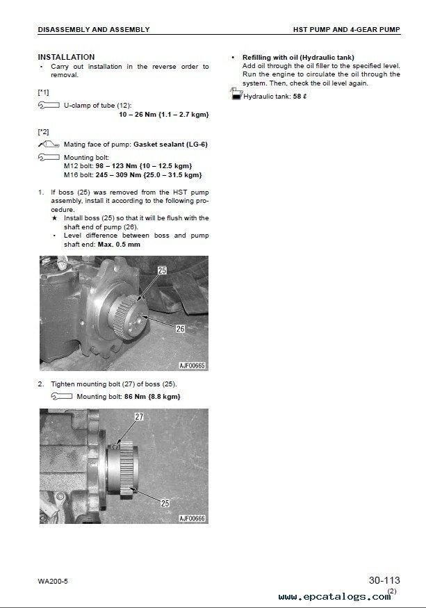 Komatsu WA Wheel Loader Shop Manual PDF Download