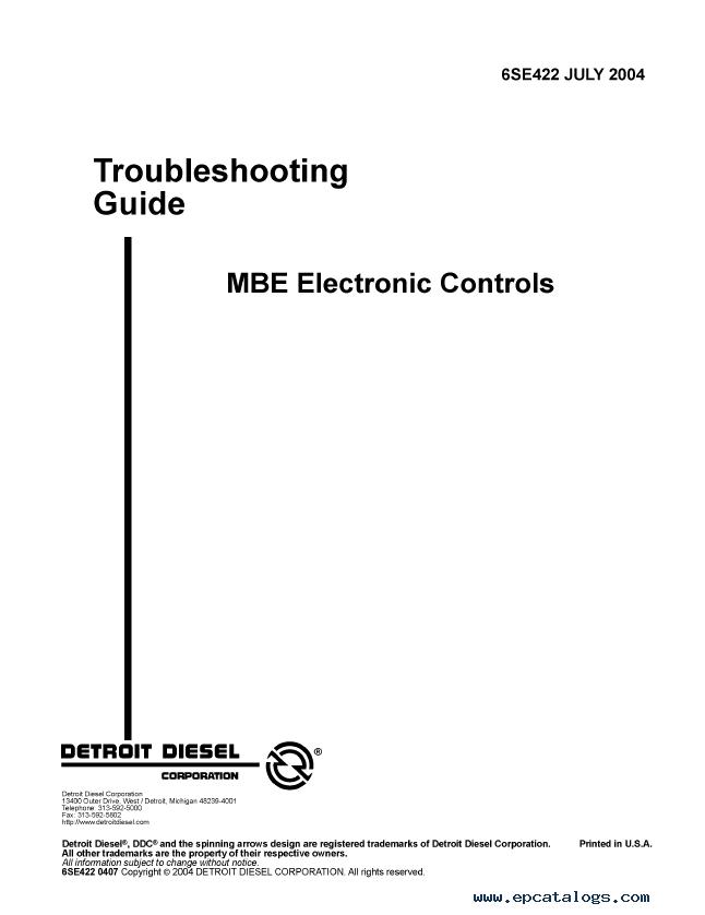 Detroit Diesel MBE Series Set of PDF Manuals