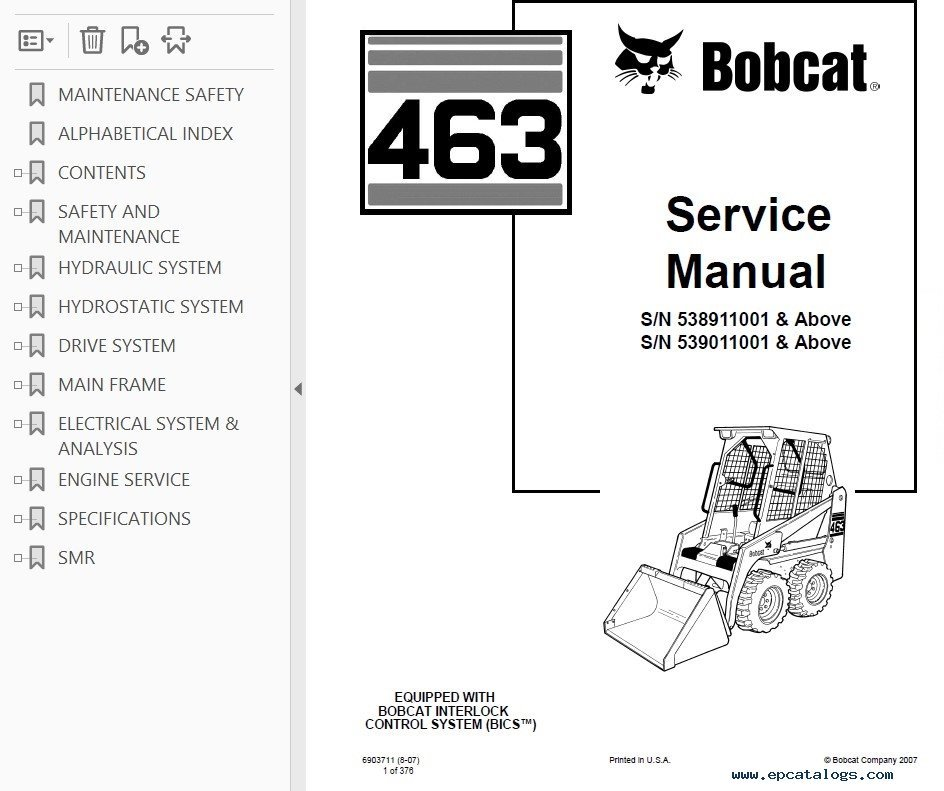 Bobcat Skid Steer Loader Service Manual Pdf