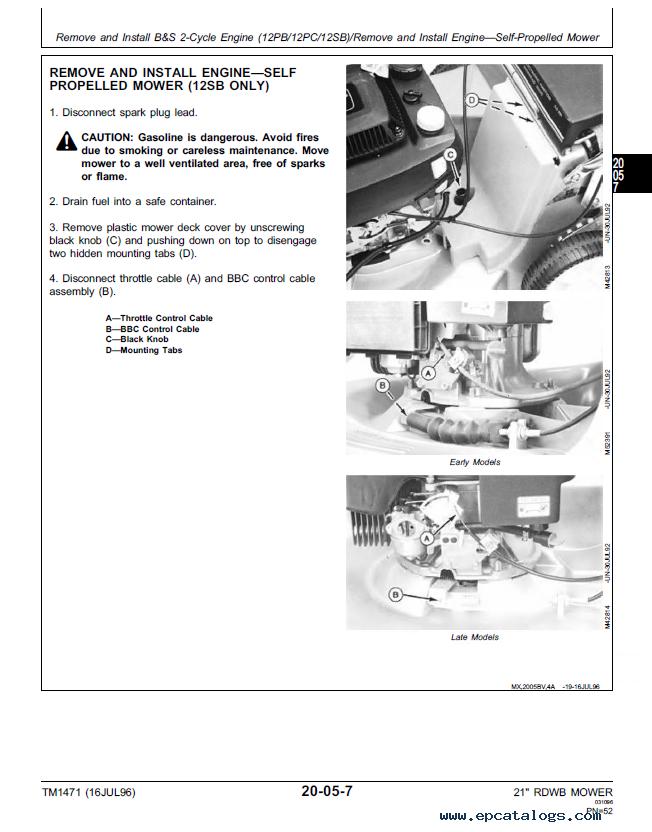 john deere walk behind mowers tm1471 technical manual rh epcatalogs com john deere 14se repair manual john deere 14se manual pdf