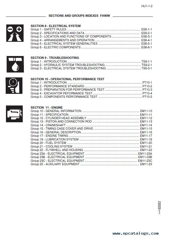 fiat hitachi excavators fh series workshop manuals