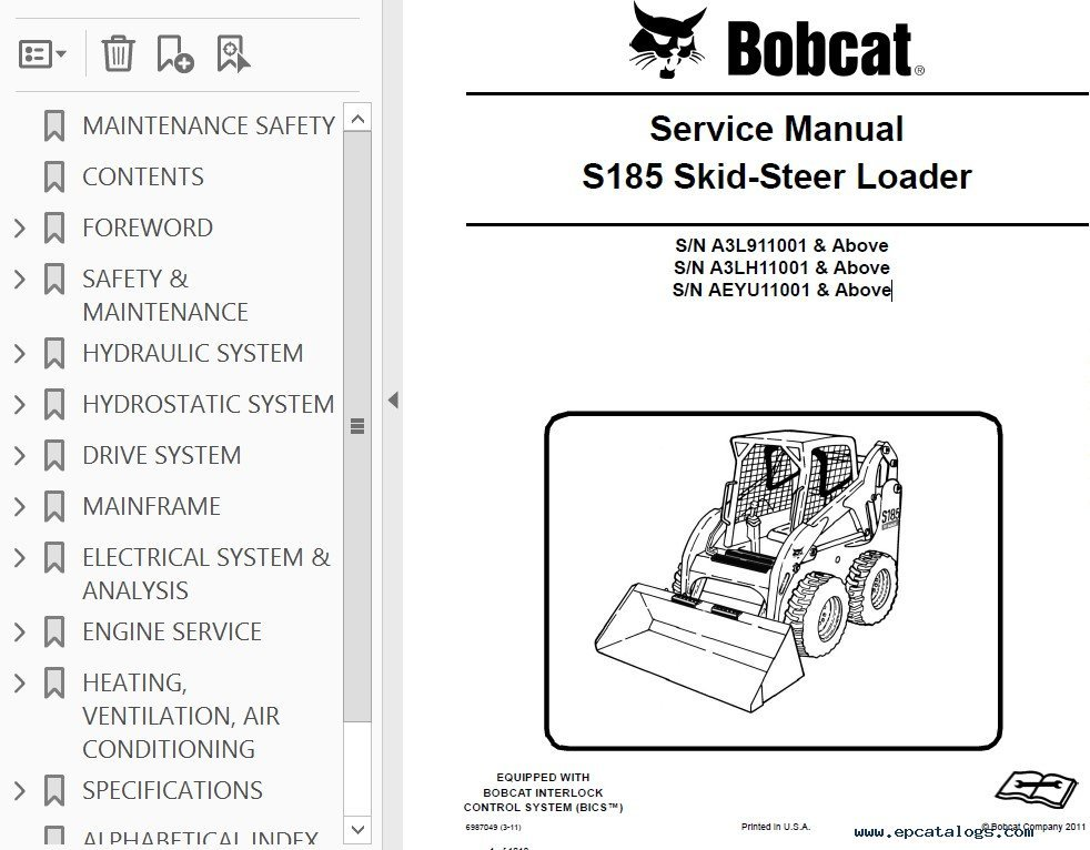 Bobcat S185 Skid Steer Loader Service Manual PDF