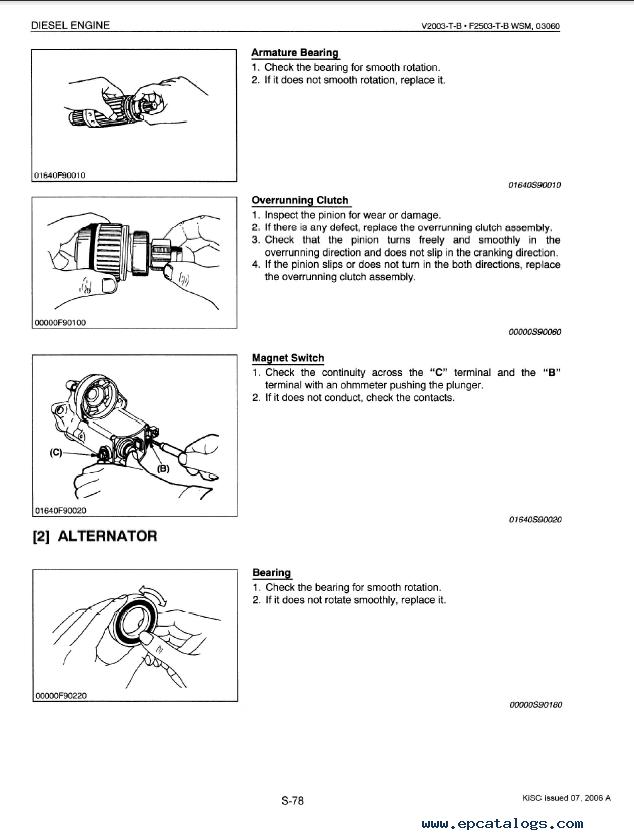 Kubota V2003-T-B, F2503-T-B Diesel Engines Workshop Manual PDF 9Y011-03060
