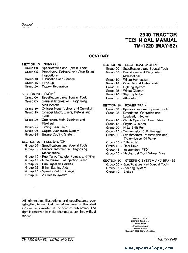 John Deere 2940 Tractor TM1220 Technical Manual PDF