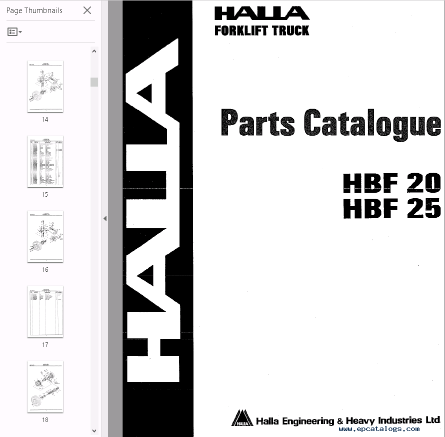 halla forklifts set of pdf parts and shop manuals