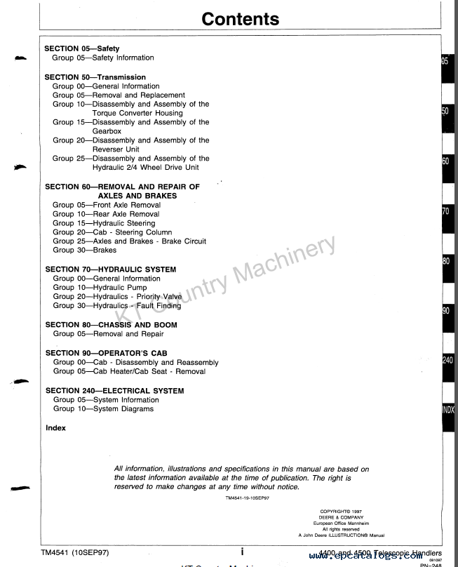 Manual Array John Deere 4400 4500 Telescopic Handlers Tm4541 Pdf Rh Epcatalogs Com: John Deere 4400 Pact Tractor Wiring Diagram At Gundyle.co