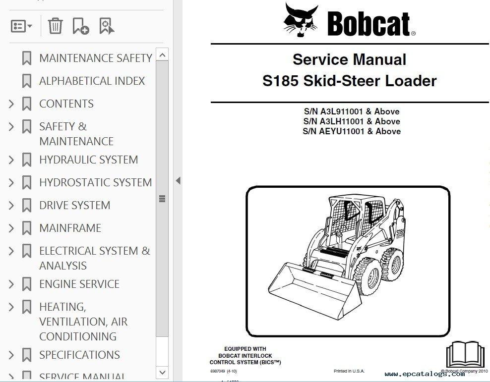 Bobcat S185 Turbo Skid Steer Loader Service Manual Pdf