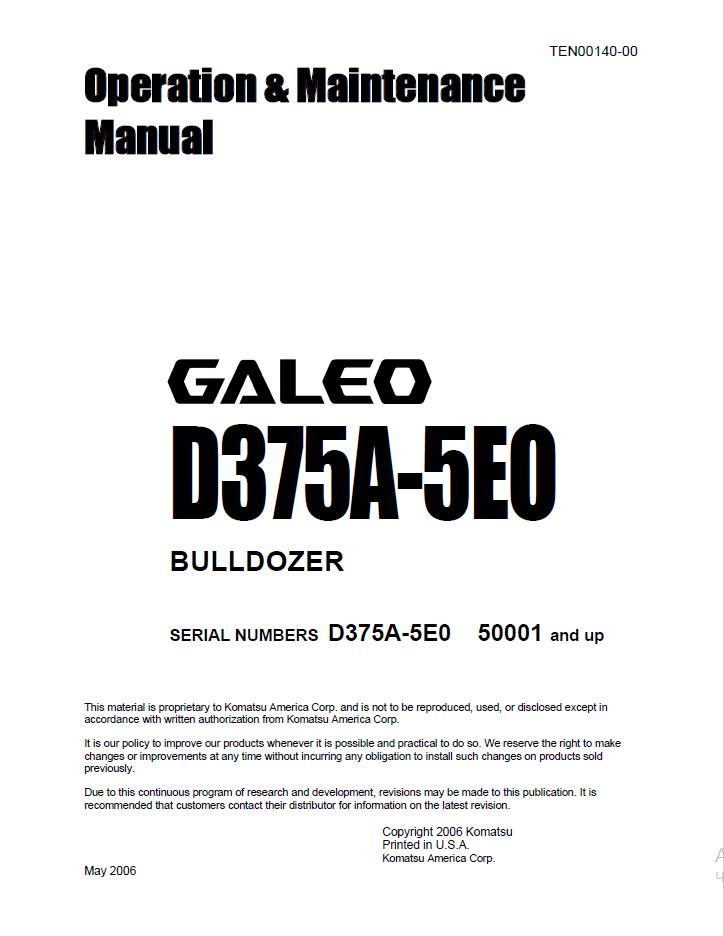 Komatsu Galeo Bulldozer D375a