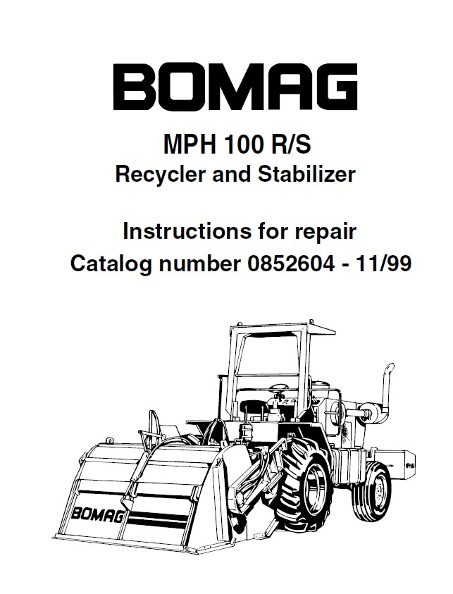 bomag mph 100 r  s repair instruction   illustrated parts list pdf