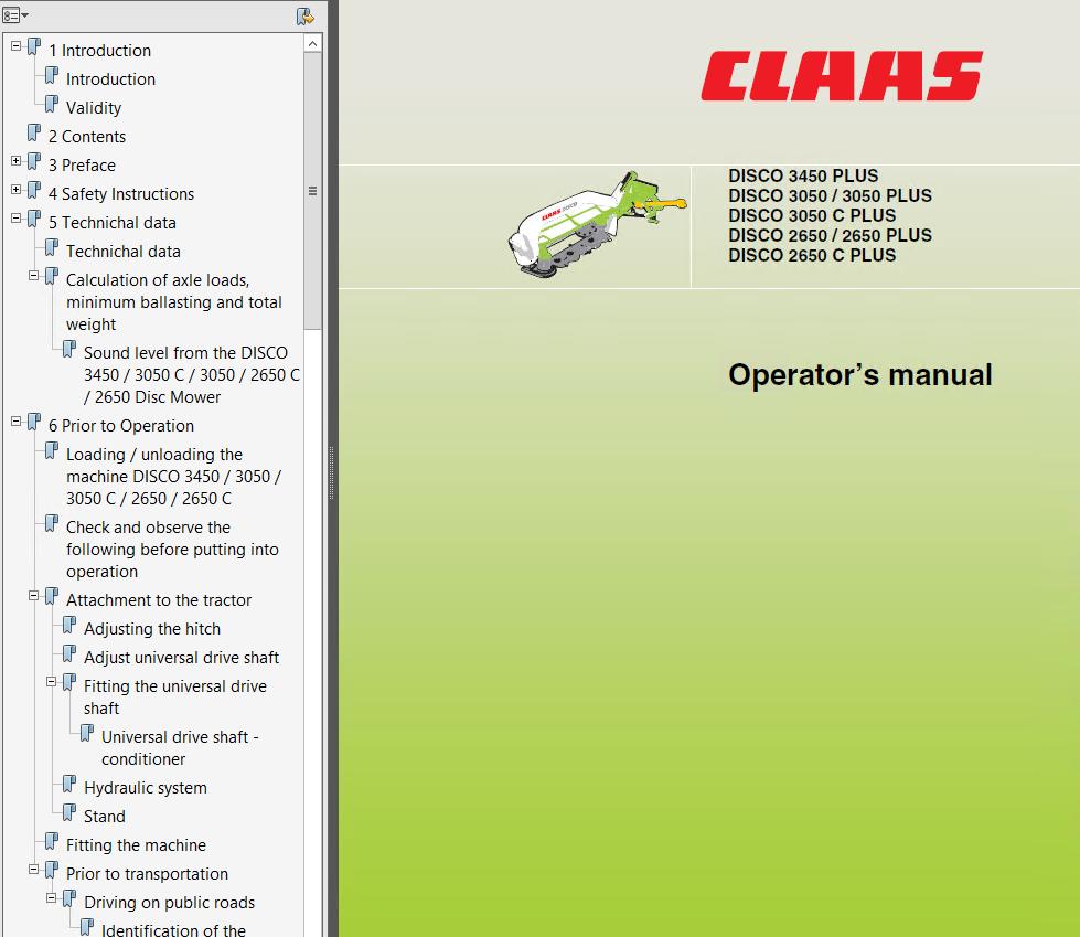 Claas Disco 3450c  Plus 3050 Plus 2650plus  C Disc Mower Download