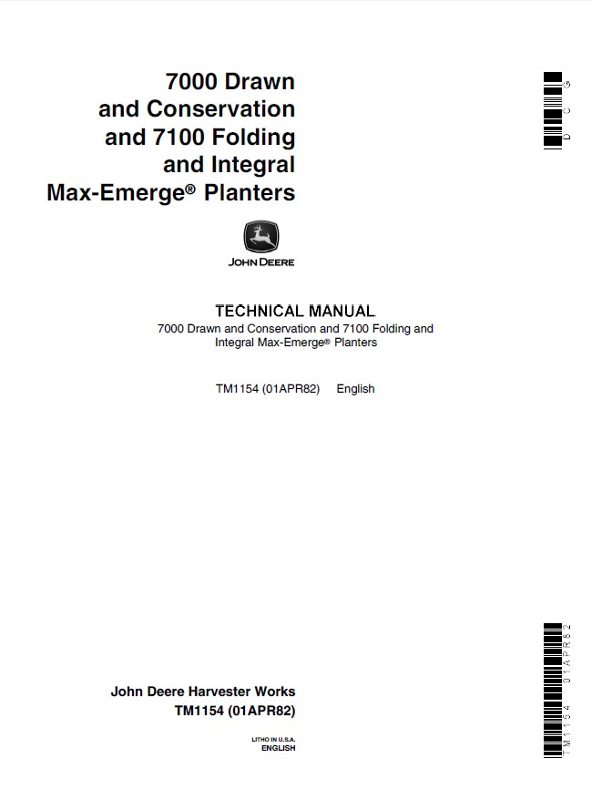 John Deere 7000 Drawn Conservation 7100 Folding Integral Max Emerge Planters Tm1154 Pdf Manual