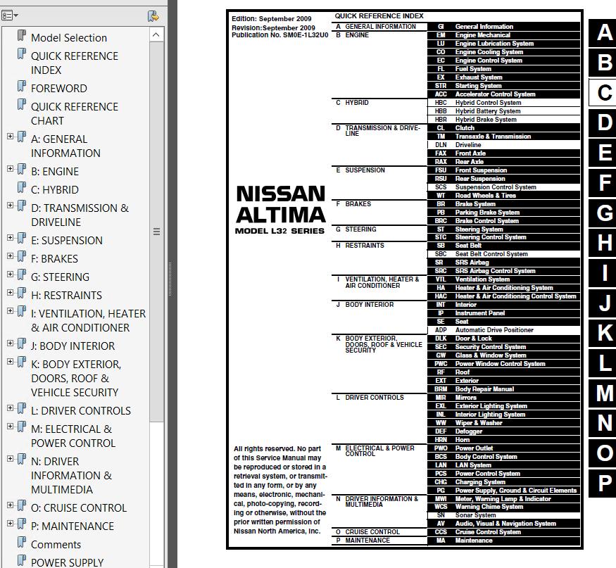 nissan altima model l32 hybrid hl32 series 2010 pdf rh epcatalogs com nissan altima owners manual 2010 2010 Nissan Altima FSM