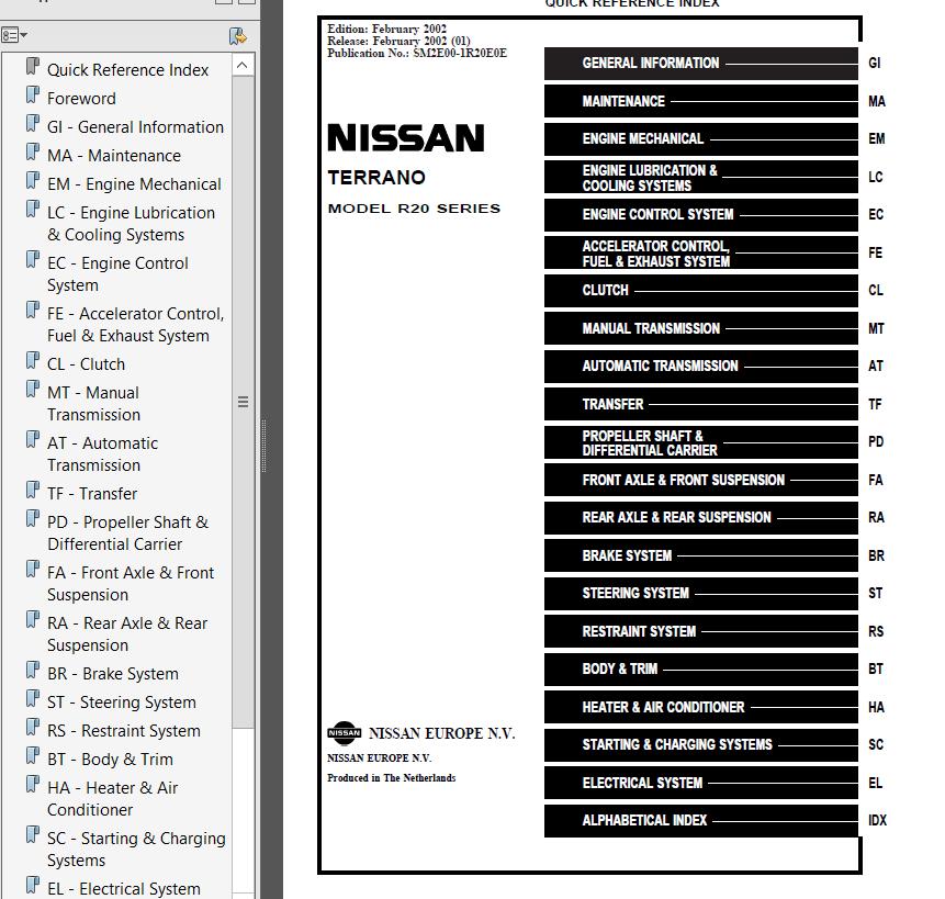 nissan terrano model r20 series 2002 service manual pdf rh epcatalogs com nissan terrano workshop manual td27 pathfinder workshop manual