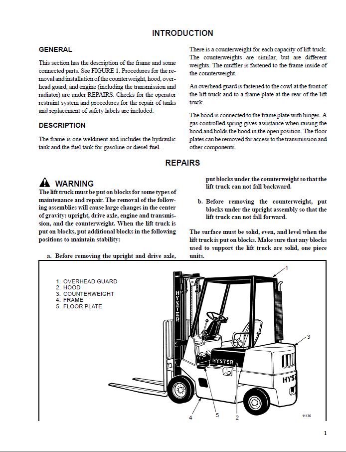 Hyster Repair manual