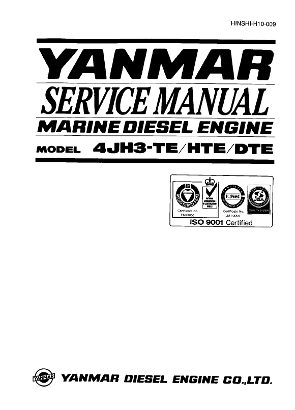 Yanmar Diesel Engine 4jh3 Hte Dte Service Manual Pdf Manual Guide
