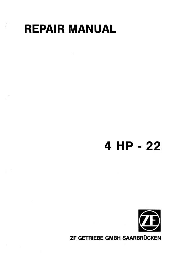 ZF 4HP22 Transmission Repair Manual PDF