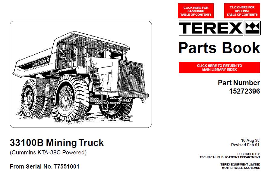 terex 33100b mining truck parts book in pdf format
