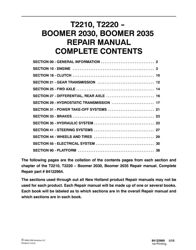 New Holland T2210  T2220  Boomer 2030  2035 Tractors