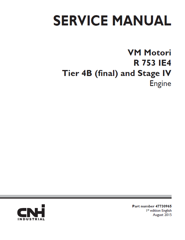 New Holland VM Motori R 753 IE4 Engine Service Manual PDF