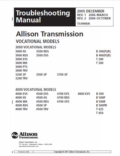 For Allison 3000 Wiring Schematic