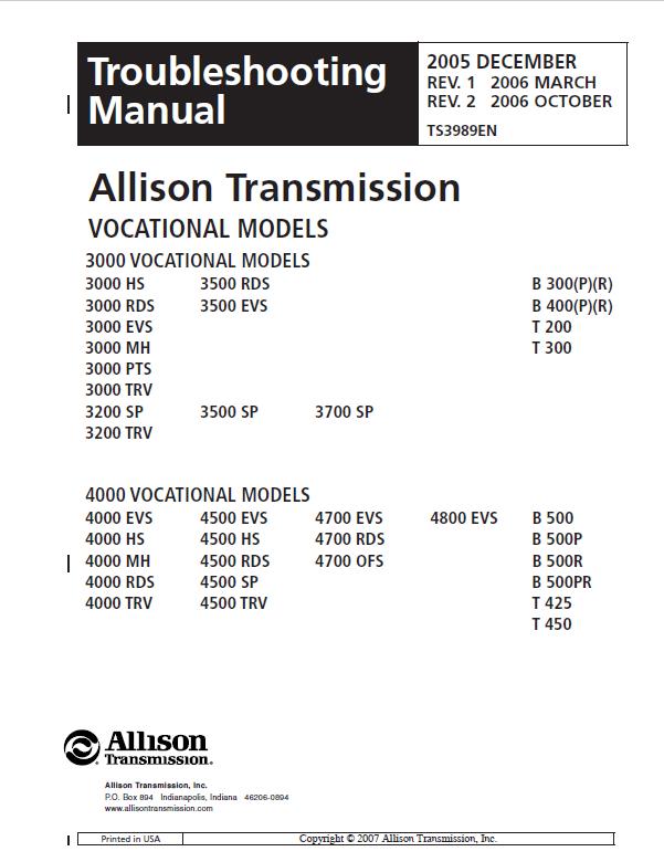 Jcb Allison Transmission 3000 4000 Series Troubleshooting