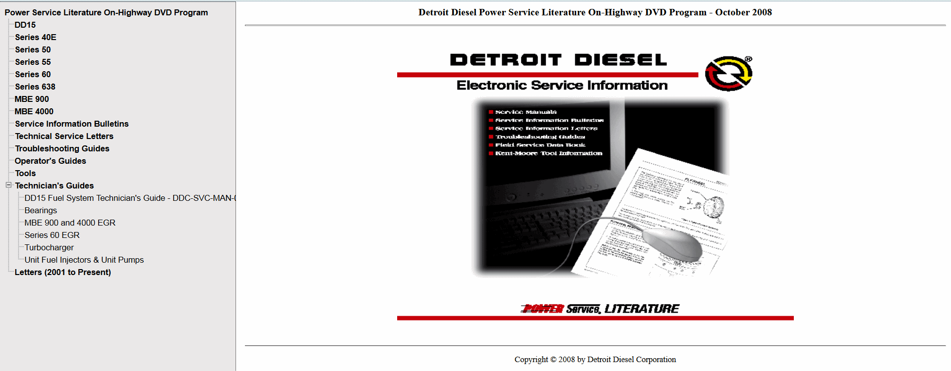 Detroit Diesel Power Service Literature On