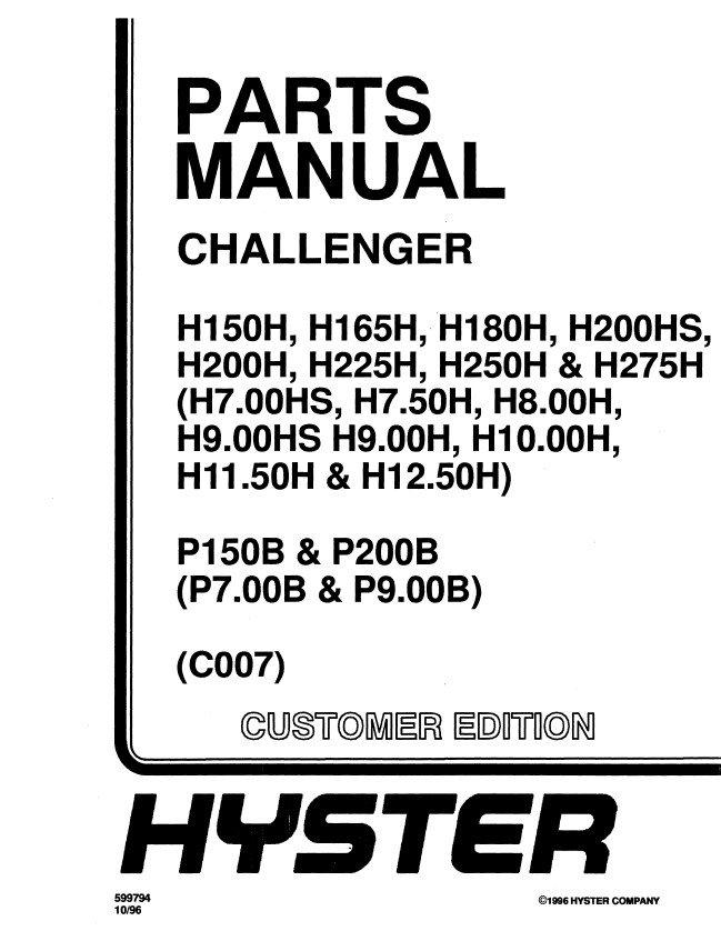 hyster challenger c007 h150h h165h h180h h200hs h200h. Black Bedroom Furniture Sets. Home Design Ideas