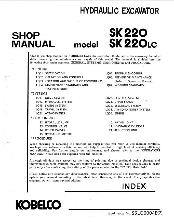 kobelco sk220 lc hydraulic excavator shop manual pdf. Black Bedroom Furniture Sets. Home Design Ideas