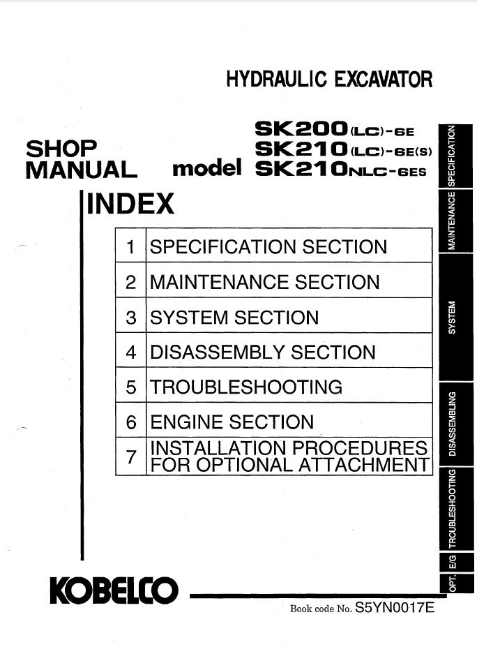 kobelco sk200 lc 6e sk210 ls lc nlc 6e s es excavator pdf rh epcatalogs com kobelco sk210 wiring diagram Kobelco SK220