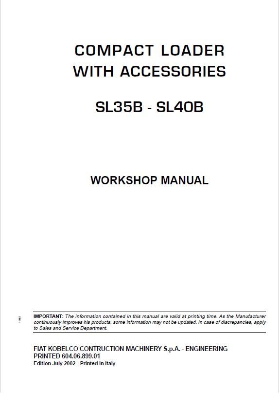 Fiat Kobelco SL35B, SL40B Compact Loader With Accessories Workshop Manual  PDF