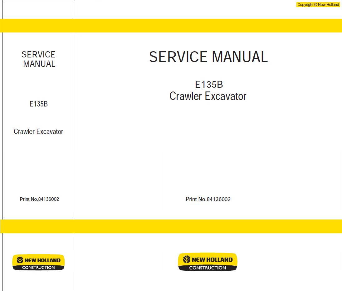 New Holland Kobelco E135b Crawler Excavator Pdf Manual Sk210 Wiring Diagram Repair Service
