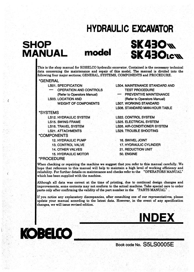 kobelco sk430 lc iii hydraulic excavator shop manual pdf. Black Bedroom Furniture Sets. Home Design Ideas