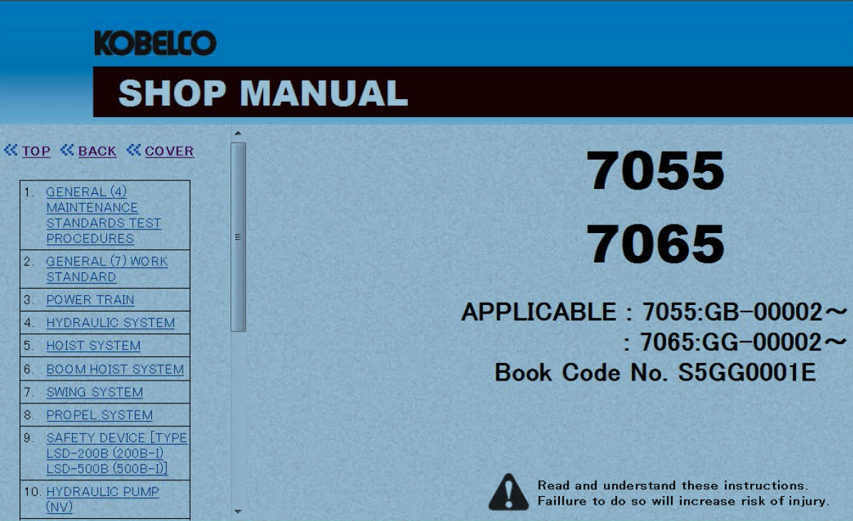 repair manual Kobelco Crawler Crane 7055 7065 Shop Manual PDF