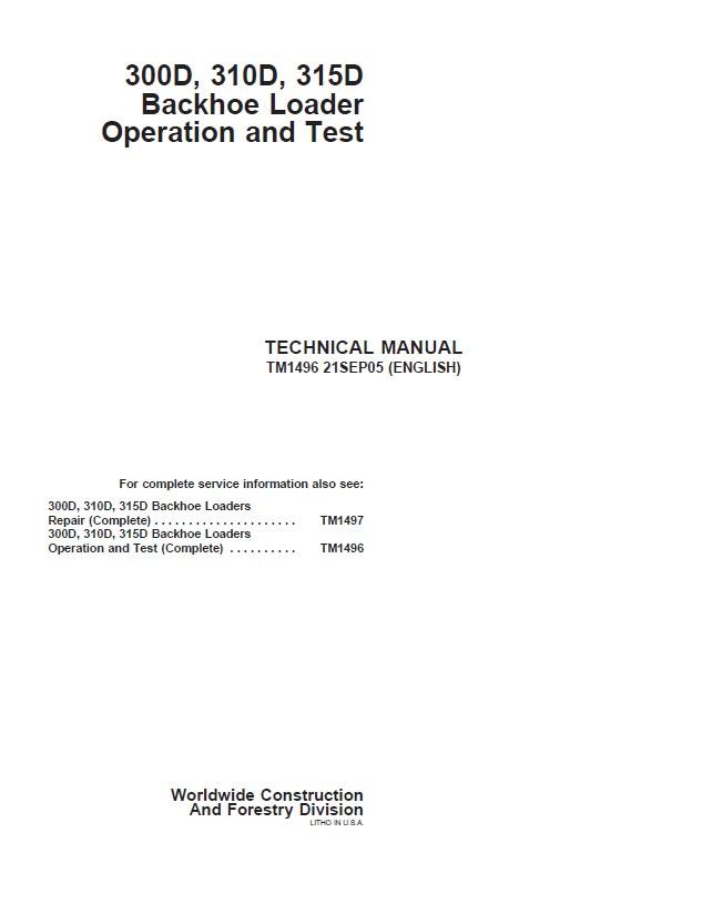 Repair Manual John Deere 300d 310d 315d Backhoe Loader Operation And Test: John Deere 310 Wiring Diagram At Shintaries.co