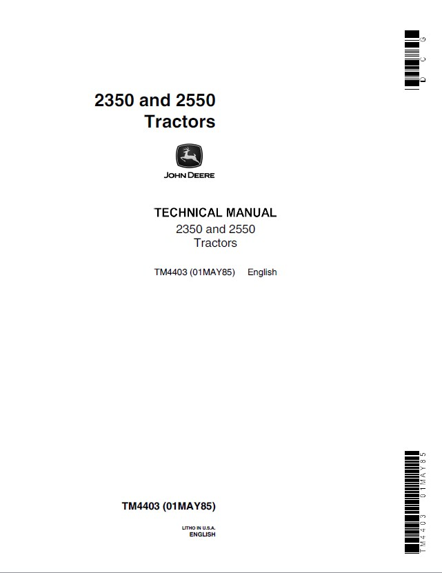 john deere 2350 2550 tractors tm4403 technical manual pdf john deere 2350 & 2550 tractors tm4403 pdf manual