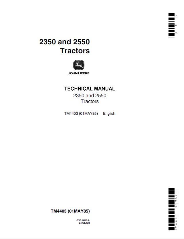 john deere 2350 2550 tractors tm4403 technical manual pdf john deere 2350 & 2550 tractors tm4403 pdf manual