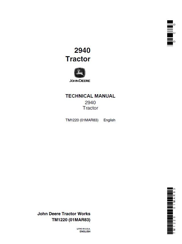 John Deere 2940 Tractor TM1220 Technical Manual PDF on